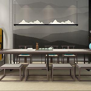 新中式茶室茶桌椅3d模型