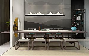 新中式茶室茶桌椅模型3d模型