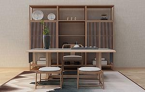 新中式茶桌模型3d模型