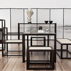 新中式茶室桌椅組合3d模型