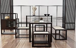 新中式茶室桌椅组合模型3d模型