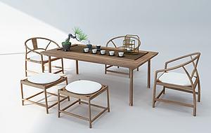 新中式茶桌椅模型3d模型