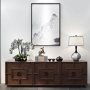 新中式邊柜電視柜模型3d模型