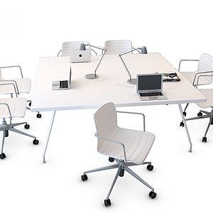 方形辦公桌椅3d模型