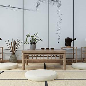 日韓茶桌椅茶具3d模型