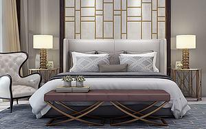歐式床模型3d模型