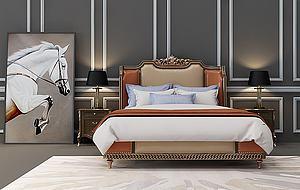 歐式新古典床模型3d模型