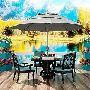 歐式景觀陽臺桌椅子遮陽傘模型3d模型