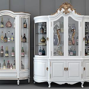 法式歐式雕花白色酒柜3d模型