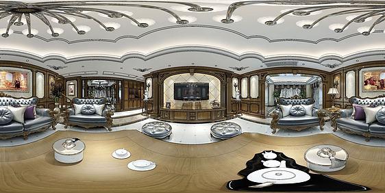 3d歐式全景客廳模型