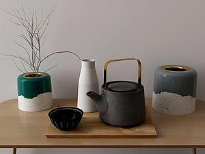 茶壺擺件組合模型3d模型