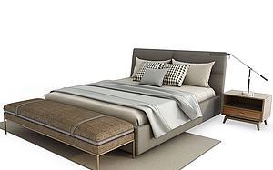 現代床組合模型3d模型