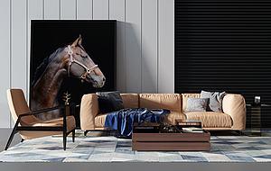 現代沙發茶幾休閑單椅子模型3d模型