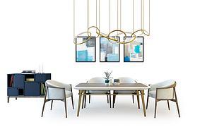 餐桌椅組合模型3d模型