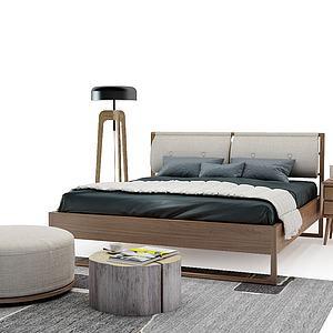 北歐現代床3d模型