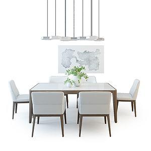 現代餐桌椅組合3d模型