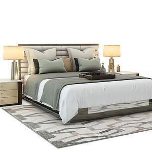 現代床3d模型