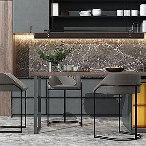 現代開放式廚房3d模型