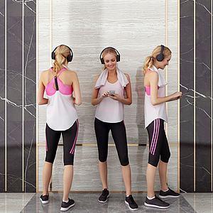 健身女人模型3d模型