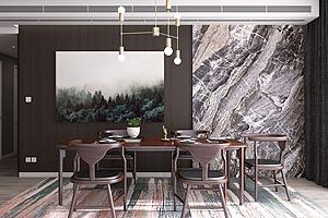 新中式餐廳餐桌餐模型3d模型