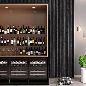 3d現代<font class='myIsRed'>酒柜</font>紅酒酒瓶組合模型