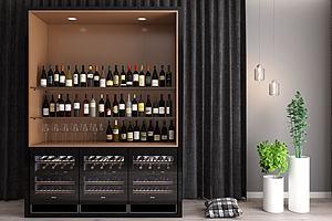 現代酒柜紅酒酒瓶組合模型3d模型