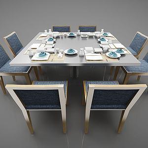 金屬餐桌3d模型