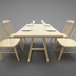 田園餐桌3d模型