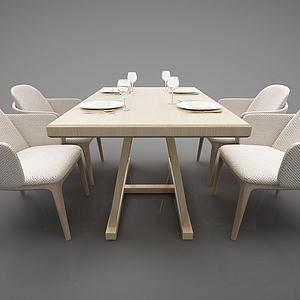 舒適的餐桌布藝3d模型