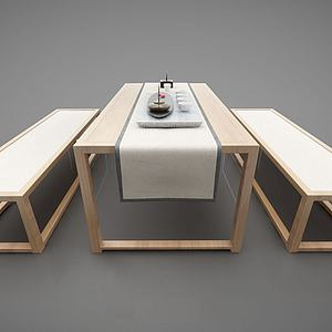 日式條形餐桌3d模型