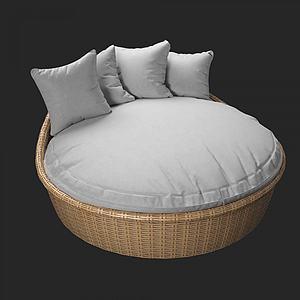 北歐床式圓形沙發模型3d模型