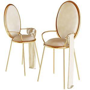 法式金休閑椅3d模型