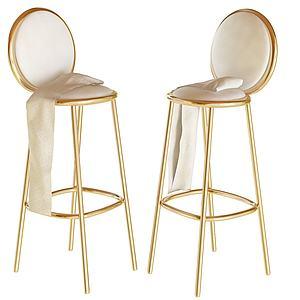 法式高腳金休閑單椅3d模型