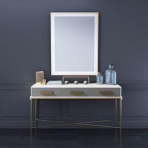 美式裝飾柜玄關掛畫蠟燭3d模型