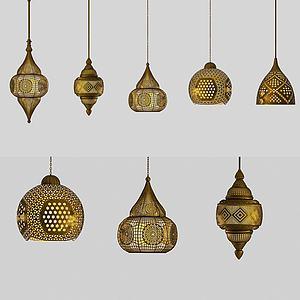 歐式復古吊燈組合3d模型