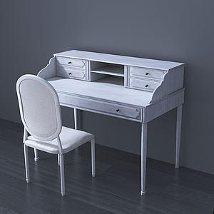 美式梳妝臺椅組合3d模型