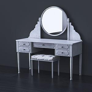 美式梳妝臺燈鏡組合3d模型