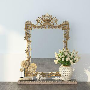 美式梳妝鏡3d模型