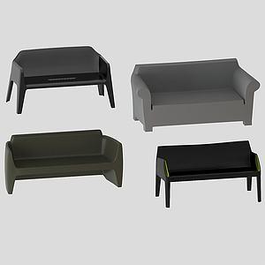 美式簡約雙人沙發3d模型