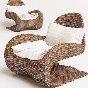現代不規則時尚休閑單椅3d模型