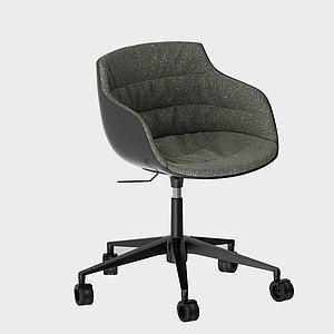 現代布藝簡約靠背吧椅3d模型
