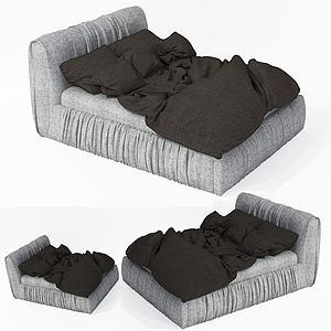 現代布藝雙人床模型3d模型
