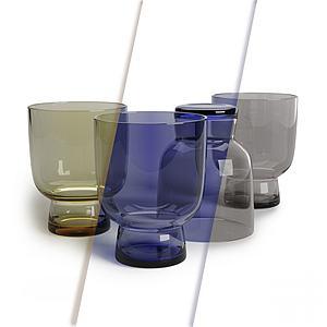 現代多彩玻璃杯3d模型