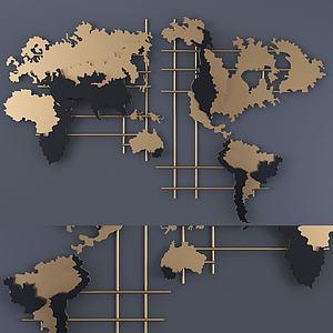 現代地圖式墻飾3d模型