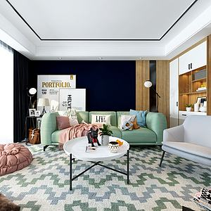 簡約客廳3d模型