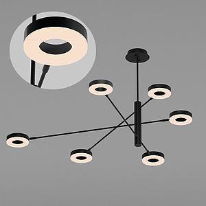 現代圓片吊燈3d模型