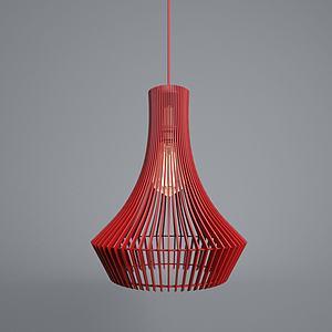 現代柵欄式紅吊燈3d模型