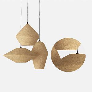 現代原木色吊燈3d模型