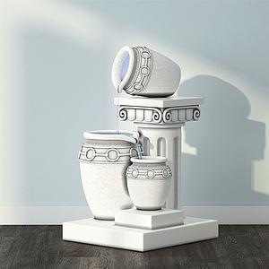 現代藝術品流水陶罐3d模型