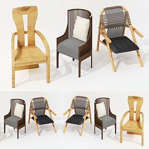 新中式靠椅組合3d模型